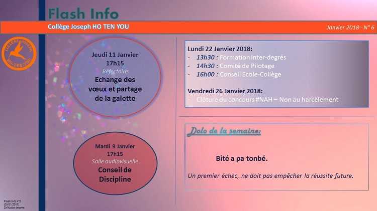 Flash Info N°05 - Janvier 2018